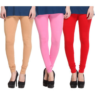 Hothy Cotton Stretch Churidar Leggings-(Beige,Pink,Red)