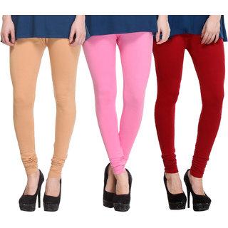 Hothy Cotton Stretch Churidar Leggings-(Beige,Pink,Maroon)