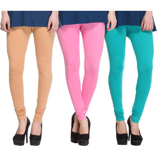 Hothy Cotton Stretch Churidar Leggings-(Beige,Pink,Light Green)