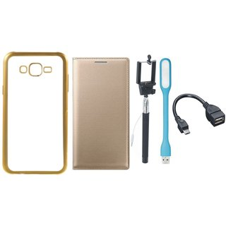 Oppo Neo 5 Chrome TPU Silicon Back Cover with Free Premium Leather Finish Flip Cover, free Selfie Stick, free LED Light and Free OTG Cable