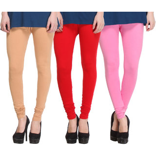 Hothy Cotton Stretch Churidar Leggings-(Beige,Red,Pink)