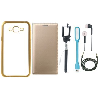 Oppo Neo 7 Golden Edge Silicon Back Cover with Free Leather Finish Flip Cover, Selfie Stick, Earphones, USB LED Light and AUX Cable