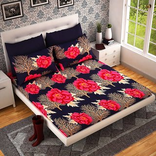 Home Berry Europian Premium Designer 3D Double Poly Cotton Bedsheet With 2 Pillow Covers (PC-DBL-3D197)
