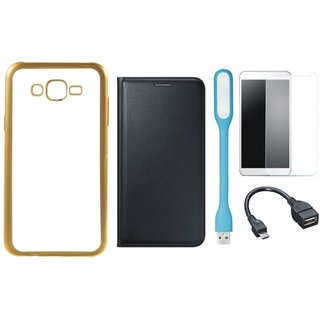 Chrome Tpu Back Cover with Golden Border for Oppo Neo 7 with Free Leather Finish Flip Cover, Tempered Glass, USB LED Light and OTG Cable