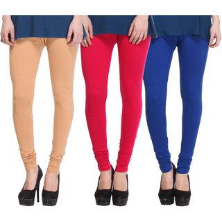 Hothy Cotton Stretch Churidar Leggings-(Beige,Magenta,Blue)