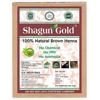 Shagun Gold Brown Henna Hair Color  100 Chemical Free ( 240 Gram  4 Packet)