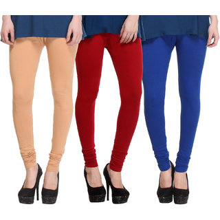 Hothy Cotton Stretch Churidar Leggings-(Beige,Maroon,Blue)