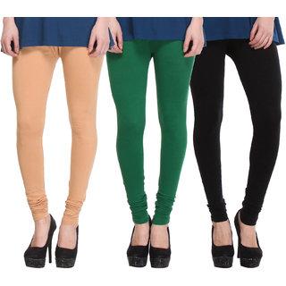 Hothy Cotton Stretch Churidar Leggings-(Beige,Dark Green,Black)