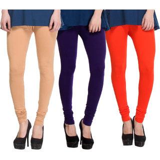Hothy Cotton Stretch Churidar Leggings-(Beige,Purple,Orange)