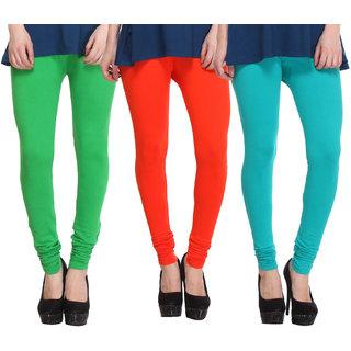 Hothy Fit For Everyday Leggings-(Light Green,Orange,Green)