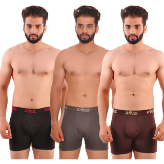 Zotic Men's Trunk'H' Underwear-Pack Of 3 (Black,Gray,Brown)