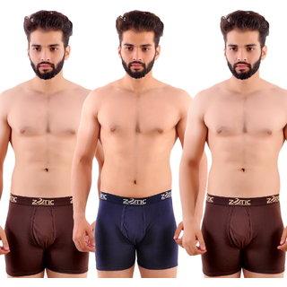 Zotic Men's Trunk'H' Underwear-Pack Of 3 (Brown,Navy,Brown)