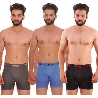 Zotic Men's Trunk'H' Underwear-Pack Of 3 (Grey,Blue,Black)