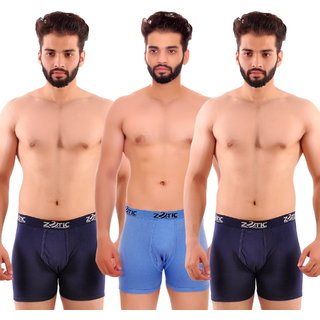 Zotic Men's Trunk'H' Underwear-Pack Of 3 (Navy,Blue,Navy)