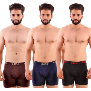 Zotic Men's Trunk'H' Underwear-Pack Of 3 (Brown,Navy,Red)