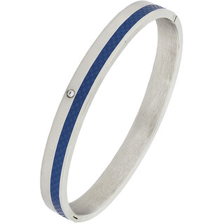 The Jewelbox Biker Beon Blue 316L Surgical Stainless Steel Rhodium Openable Bangle Bracelet For Men Boys