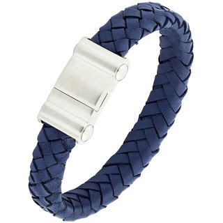 Braided Punk 100 Genuine Handmade Soft Durable Leather Black Stainless Steel Wrist Band Bracelet Men