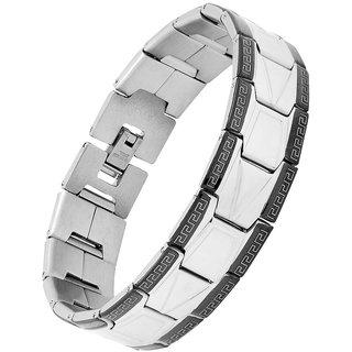 The Jewelbox Arrow Italian Design Stainless Steel Black Rhodium Plated Bracelet For Boys Men