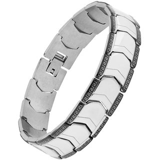 The Jewelbox Italian Luxury Black Silver Stainless Steel Rhodium Plated Bracelet For Boys Men