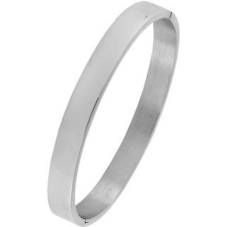 The Jewelbox Classic Glossy 316L Surgical Stainless Steel Silver Plated Openable Bangle Bracelet Boys Men