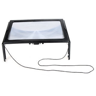 New Foldable Desk A4 Full Page  Reading Magnifier with 4 LED  STAND  3X Desktop Magnifying Glass