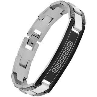 The Jewelbox Italian Biker Id Stainless Steel Black Border Rhodium Plated Bracelet For Boys Men
