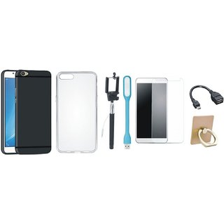Nokia 6 Soft Silicon Slim Fit Back Cover with Ring Stand Holder, Free Selfie Stick, Tempered Glass, LED Light and OTG Cable