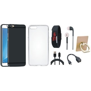 Nokia 6 Soft Silicon Slim Fit Back Cover with Ring Stand Holder, Silicon Back Cover, Digital Watch, Earphones, OTG Cable and USB Cable