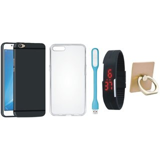 Nokia 6 Soft Silicon Slim Fit Back Cover with Ring Stand Holder, Silicon Back Cover, Digital Watch and USB LED Light
