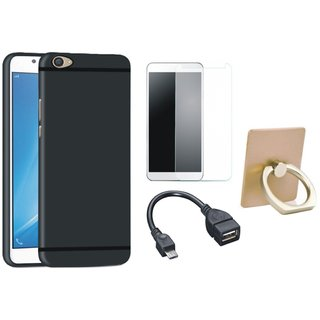 Nokia 6 Silicon Slim Fit Back Cover with Ring Stand Holder, Tempered Glass and OTG Cable