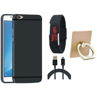 Nokia 6 Silicon Slim Fit Back Cover with Ring Stand Holder, Digital Watch and USB Cable