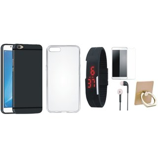 Nokia 6 Silicon Slim Fit Back Cover with Ring Stand Holder, Free Digital LED Watch, Tempered Glass and Earphones