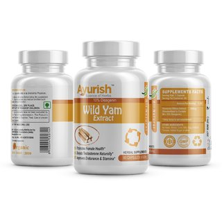 Ayurish Wild Yam  Extract with Diosgenin 500 mg 60 Capsule improves endurance  stamina