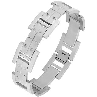 The Jewelbox Links Screw Glossy Matte Links Daily 316L Surgical Stainless Steel Bracelet For Boys Men