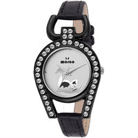 Marco White Dial Black Strap Women'S Analog Watch