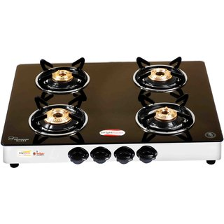 brightflame 4 Burner Black Glass Stove Auto - Tulip Series