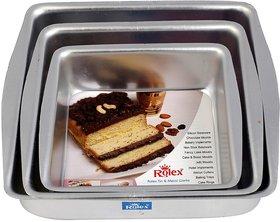 Ezzideals 3pc Aluminium Square Shape Cake Mould