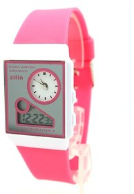 New Look Latest Designer Fancy Zilin Branded Multi-Function Dual Time Pink Analog-Digital LED Gorgeous Elegant Low Price