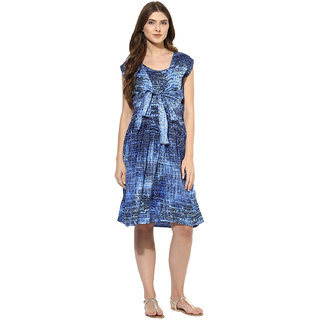 Mine4nine Women's Geomatric Print knot front Dress