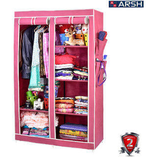 ARSH portable and collapsible Wardrobe Metal Frame 6 Racks Closet AW06 Maroon with High Capacity up to 70kgs