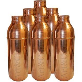 Artandcraftvilla Set of 6 Copper Water Bottle 800 ML for Storage Water Good Health Indian Yoga Ayurveda