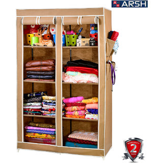 ARSH portable and collapsible Wardrobe Metal Frame 8 Racks Closet AW08 Beige with High Capacity up to 70kgs