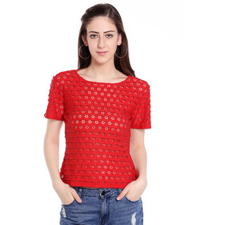 Blu Finch Women's Red Perforated Crop Top