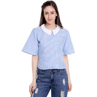Blu Finch Women's Blue Striped Top with Collar