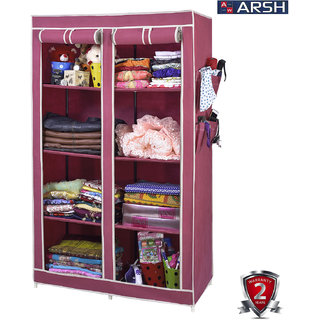 ARSH portable and collapsible Wardrobe Metal Frame 8 Racks Closet AW08 Maroon with High Capacity up to 70kgs