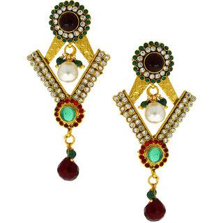 Anuradha Art Golden Finish Studded Shimmering White Colour Stone Wonderful Traditional Earrings For Women/Girls