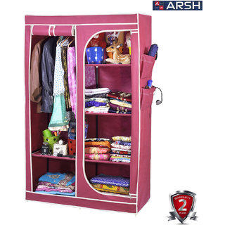 ARSH portable and collapsible Wardrobe Metal Frame 6 Racks Closet AW30 Maroon with High Capacity up to 70kgs