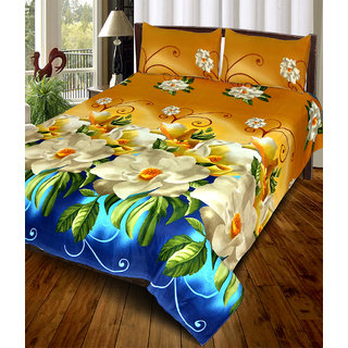 3D Floral Print Double Bedsheet With 2 Pillow Covers - 85 Inches * 85 Inches