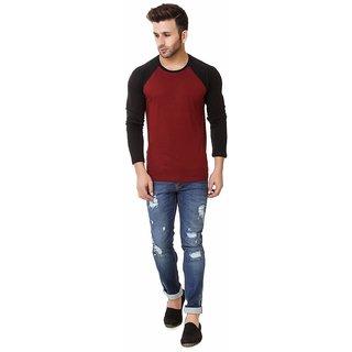 Klick2style Solid Mens Raglan Full Sleeve Tshirt Red Black