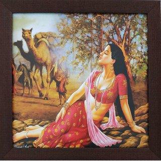 GORBANDH Rajasthani Village Framed Painting Synthetic 35 Cm X 2 Modern Art Wood